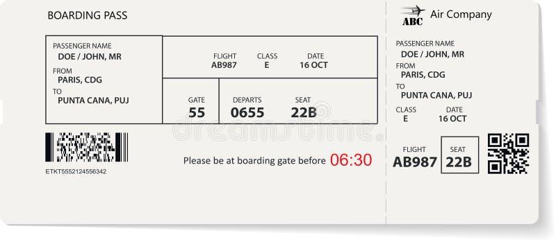 Biglietto del passaggio di imbarco di linea aerea per il viaggio in aereo royalty illustrazione gratis