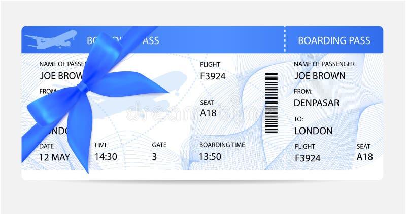 Biglietto del passaggio di imbarco, modello del traveller check con l'arco del regalo, aeroplano degli aerei o siluetta dell'aere illustrazione di stock