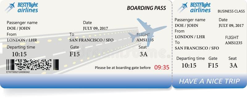 Biglietto del passaggio di imbarco nei colori blu illustrazione vettoriale