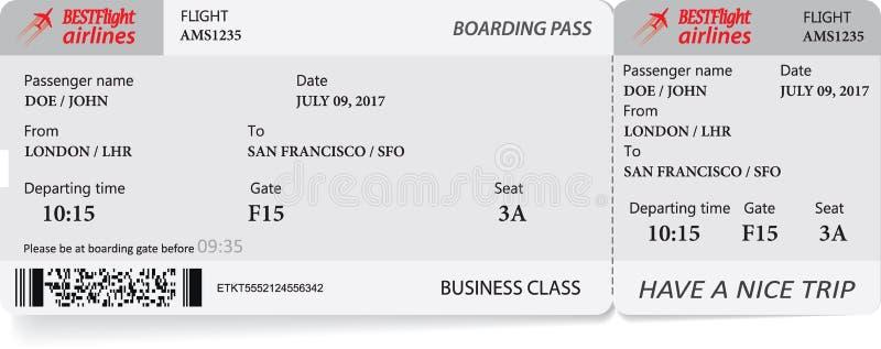 Biglietto del passaggio di imbarco nei colori grigi illustrazione di stock