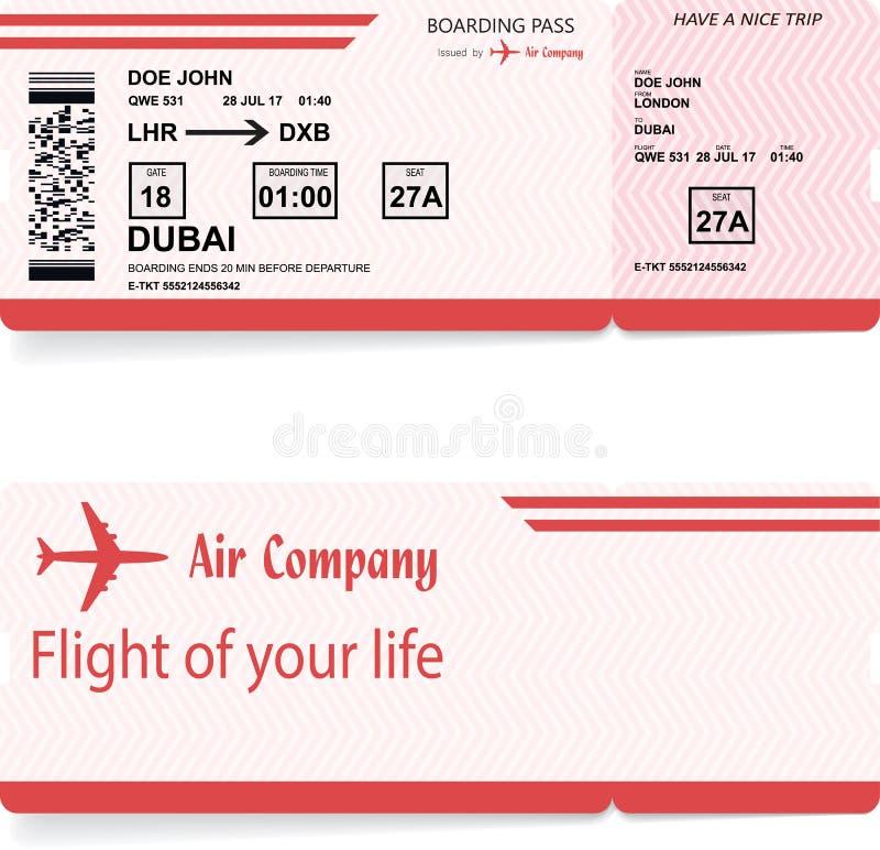 Biglietto del passaggio di imbarco del passeggero di linea aerea di vettore illustrazione vettoriale