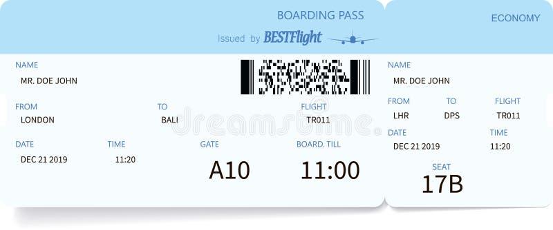 Biglietto di aeroplano dettagliato illustrazione vettoriale