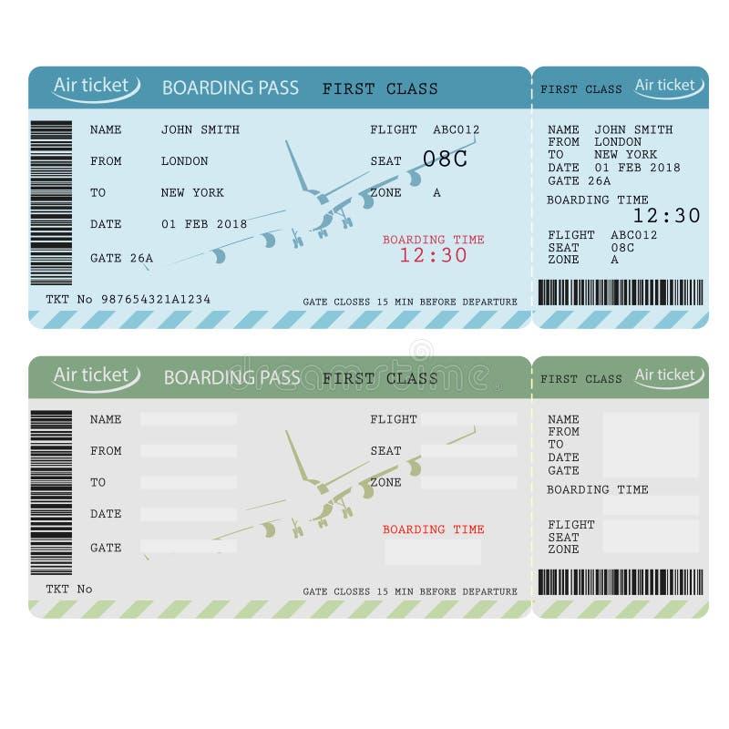 Biglietto di aria con il codice a barre, passaggio di imbarco di linea aerea Vettore royalty illustrazione gratis