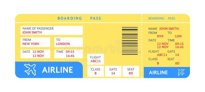 Biglietto di aria giallo blu in aereo con testo illustrazione di stock