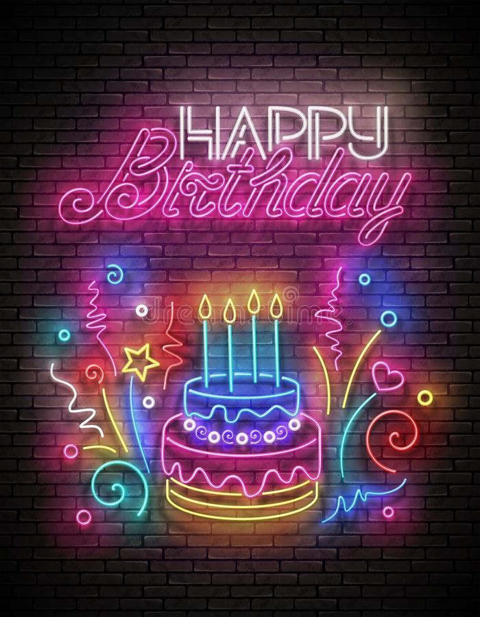Biglietto di auguri con torta, candele, confetti e iscrizione di auguri di buon compleanno illustrazione vettoriale