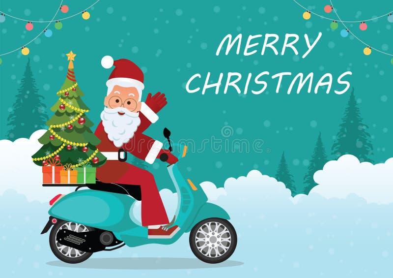 Biglietto di auguri natalizio con natale santa claus in motocicletta illustrazione vettoriale