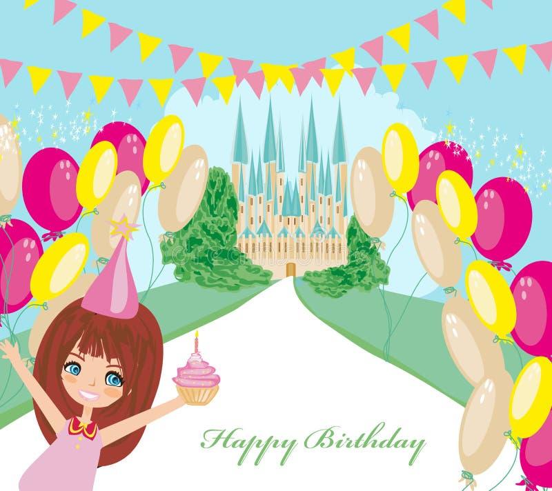 Biglietto di auguri per il compleanno con il castello dolce di fiaba e della ragazza illustrazione di stock