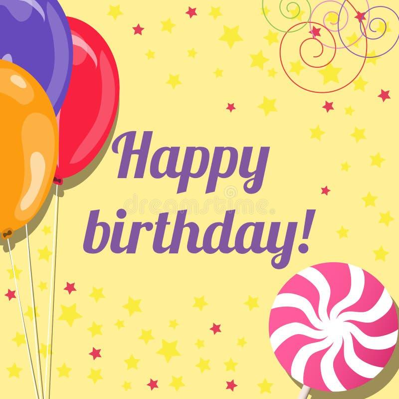 Biglietto di auguri per il compleanno con i palloni e la lecca-lecca illustrazione di stock