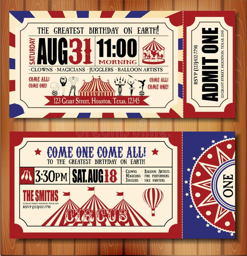 Biglietto di auguri per il compleanno con il biglietto del circo illustrazione di stock