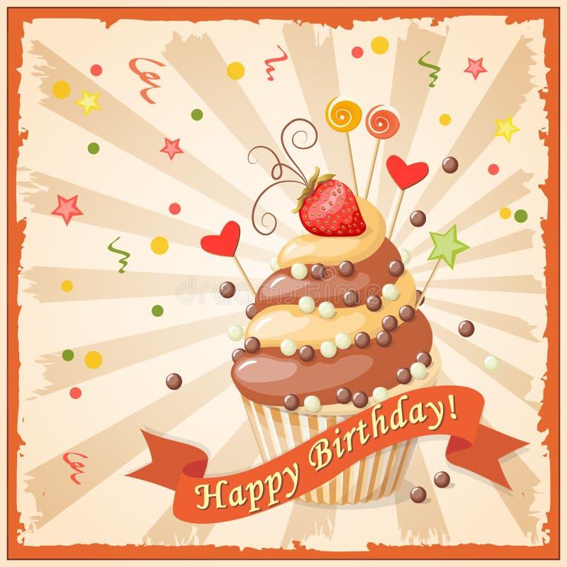 Biglietto di auguri per il compleanno con il dolce, il nastro e la fragola royalty illustrazione gratis