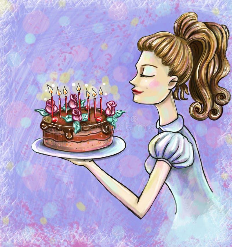 Biglietto di auguri per il compleanno con una ragazza che spegne l'illustrazione delle candele illustrazione di stock