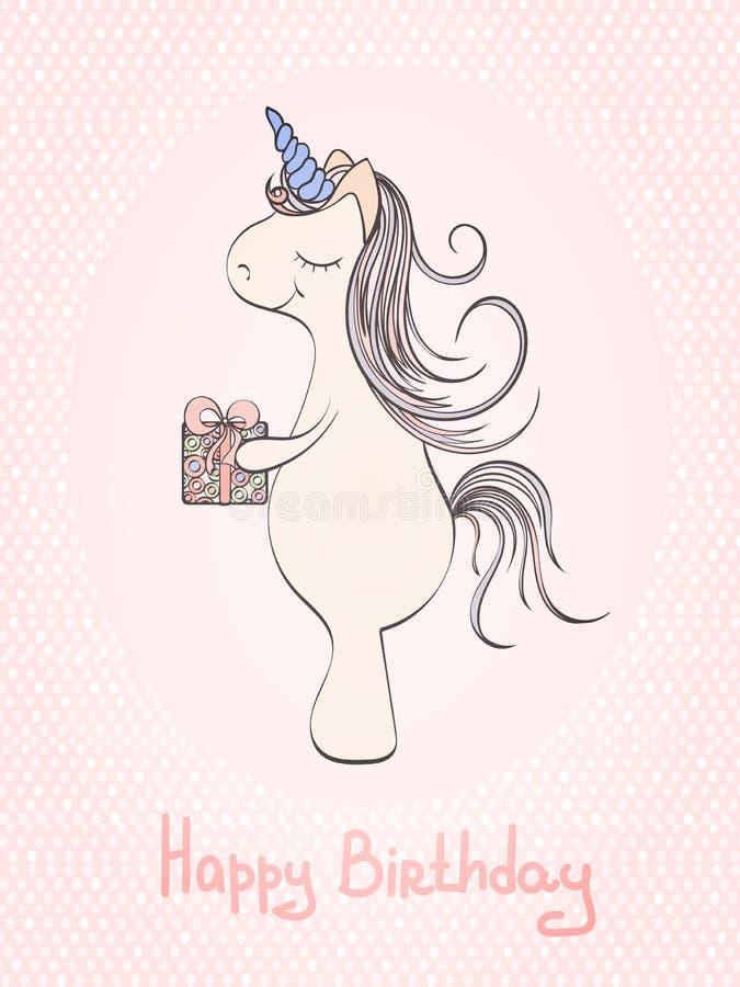 Biglietto Di Auguri Per Il Compleanno Con Lunicorno Illustrazione