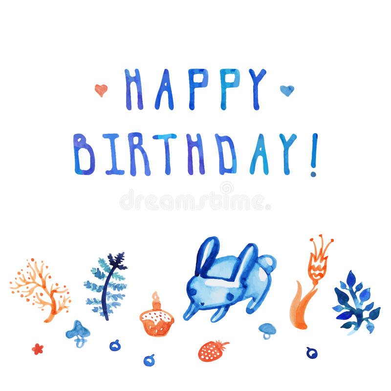 Biglietto di auguri per il compleanno e fondo felici dell'acquerello con il coniglietto, il dolce, le piante ed il fiore con test royalty illustrazione gratis