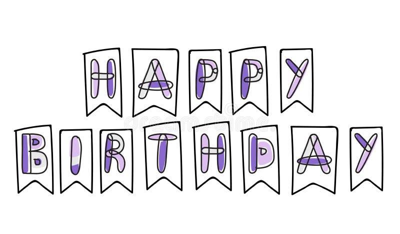Biglietto di auguri per il compleanno ed insegna felici di vettore fotografia stock libera da diritti