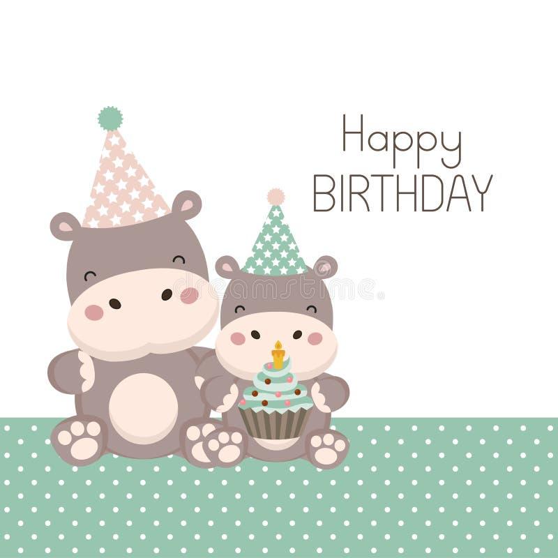 Biglietto di auguri per il compleanno felice con il fumetto sveglio dell'ippopotamo illustrazione vettoriale