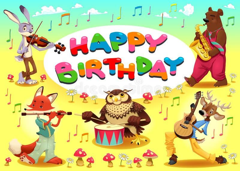 Biglietto di auguri per il compleanno felice con gli animali del musicista illustrazione vettoriale