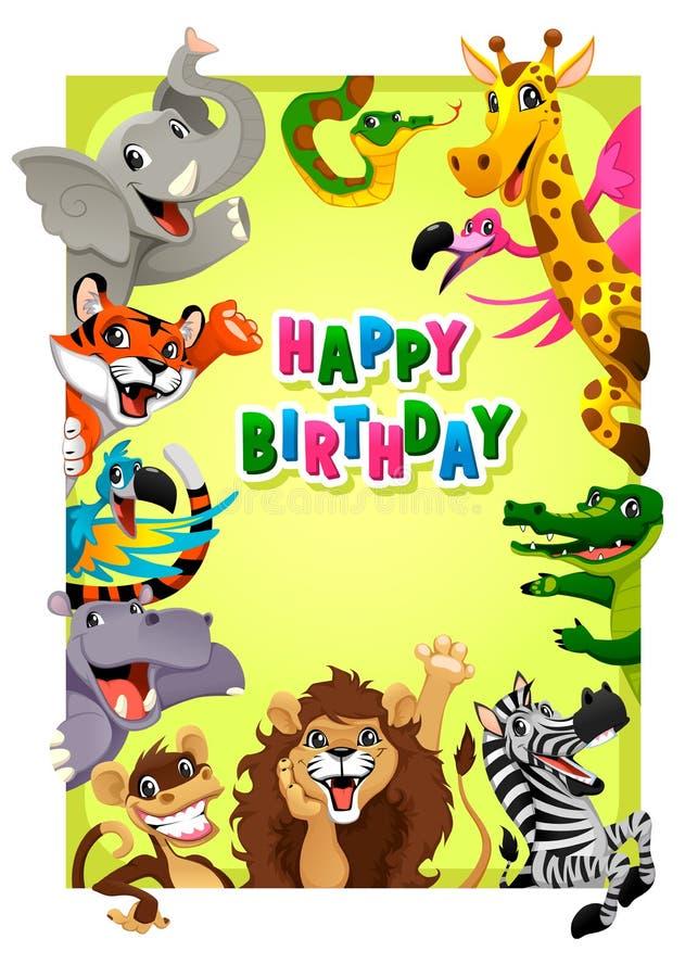 Biglietto di auguri per il compleanno felice con gli animali della giungla royalty illustrazione gratis