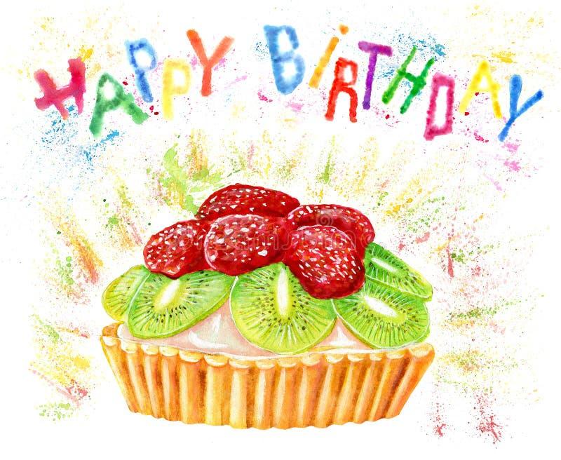 Biglietto di auguri per il compleanno felice con il dolce e le lettere dell'acquerello illustrazione vettoriale