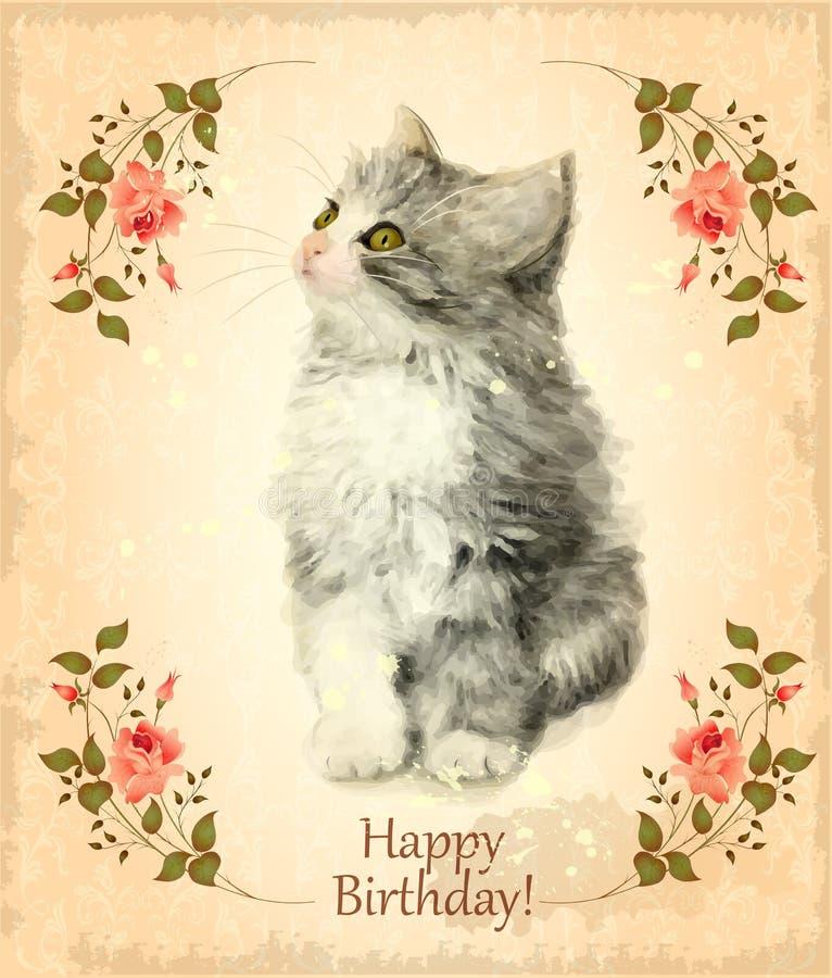 Biglietto di auguri per il compleanno felice con il gattino lanuginoso illustrazione vettoriale