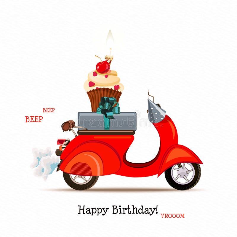 Biglietto di auguri per il compleanno felice con il motorino ed i palloni rossi nello stile del fumetto Illustrazione di vettore royalty illustrazione gratis
