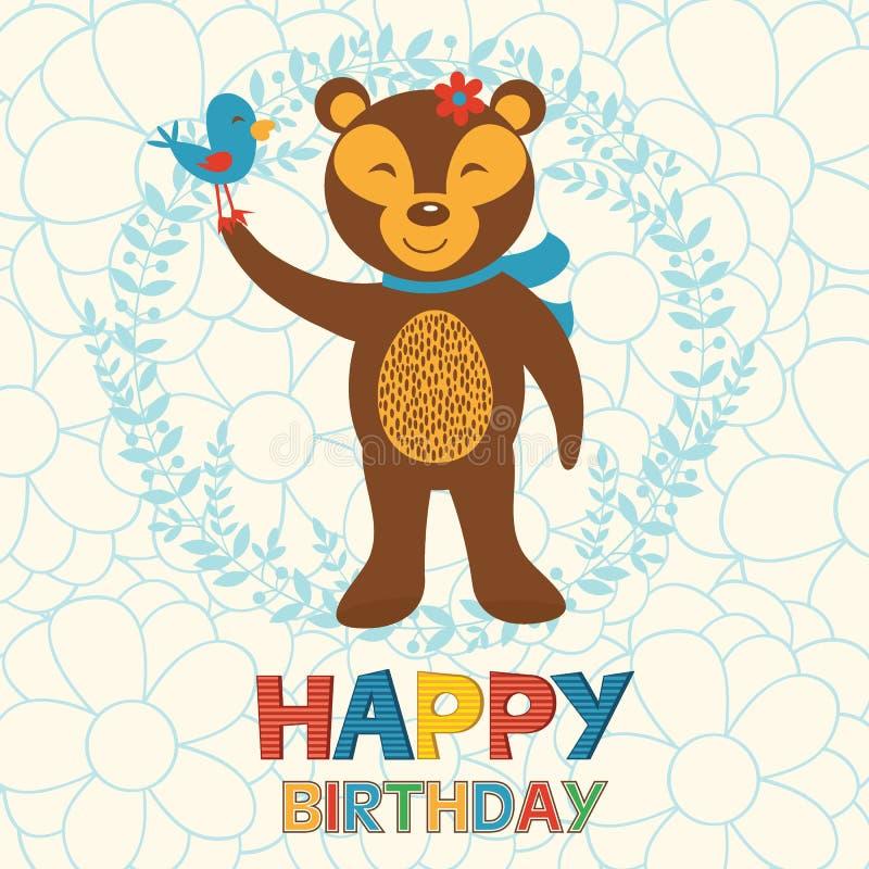 Biglietto di auguri per il compleanno felice con l'orso e l'uccello felici illustrazione di stock