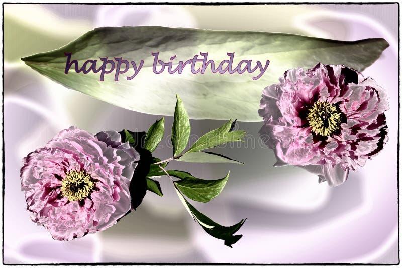 Biglietto di auguri per il compleanno felice con le peonie in lilla, nel rosa ed in verde fotografie stock libere da diritti