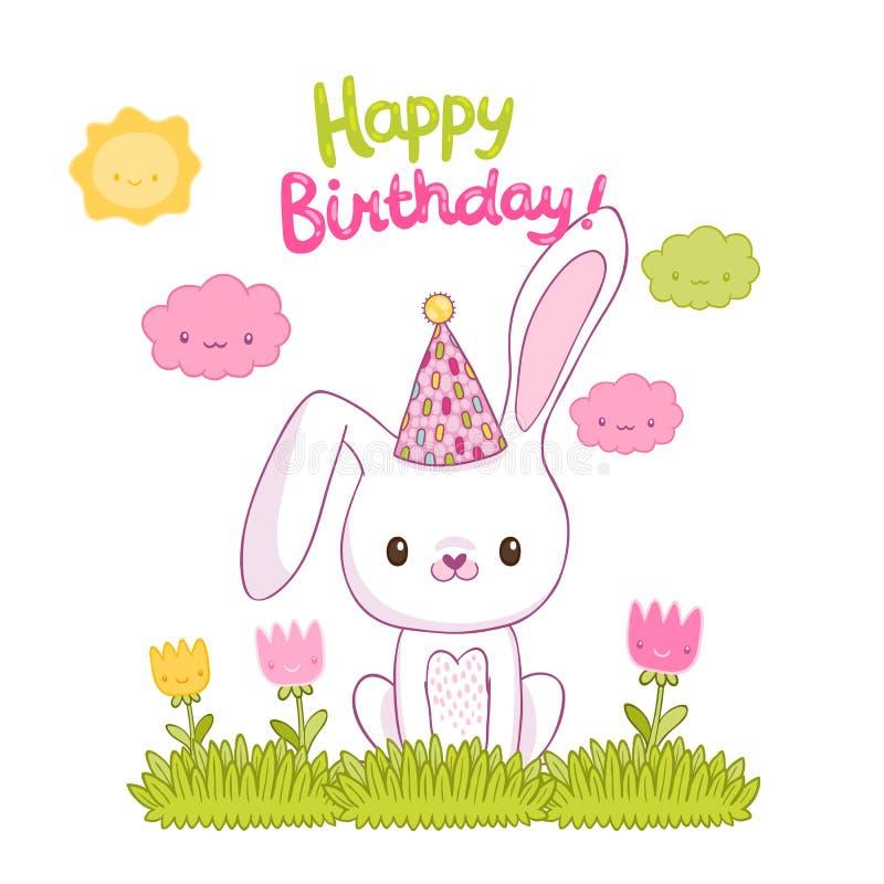 Biglietto di auguri per il compleanno felice con un coniglietto royalty illustrazione gratis