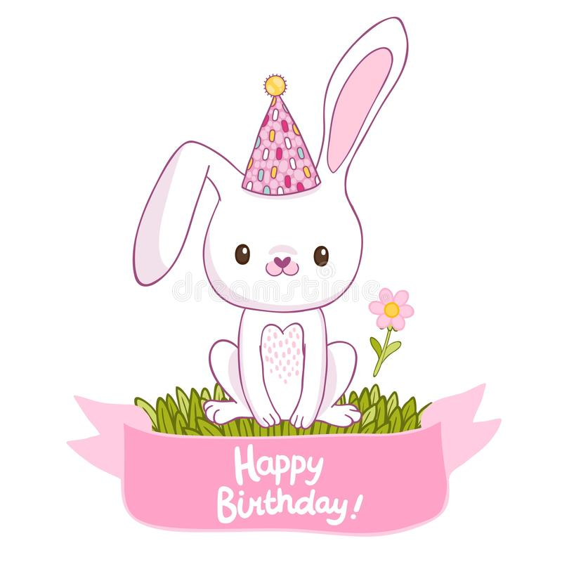 Biglietto di auguri per il compleanno felice con un coniglietto illustrazione vettoriale