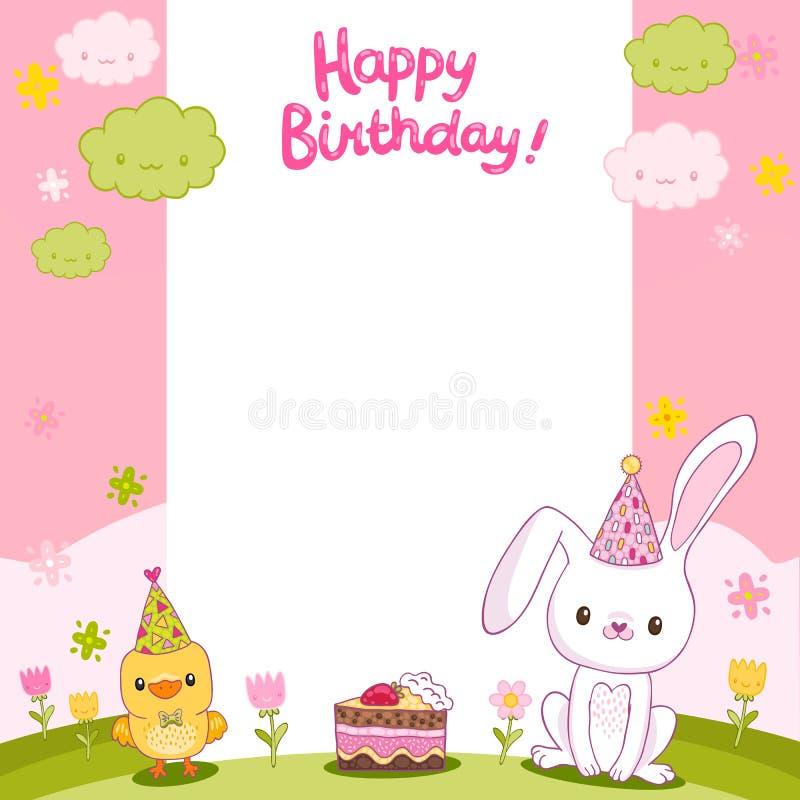 Biglietto di auguri per il compleanno felice con un coniglietto e un uccello illustrazione vettoriale