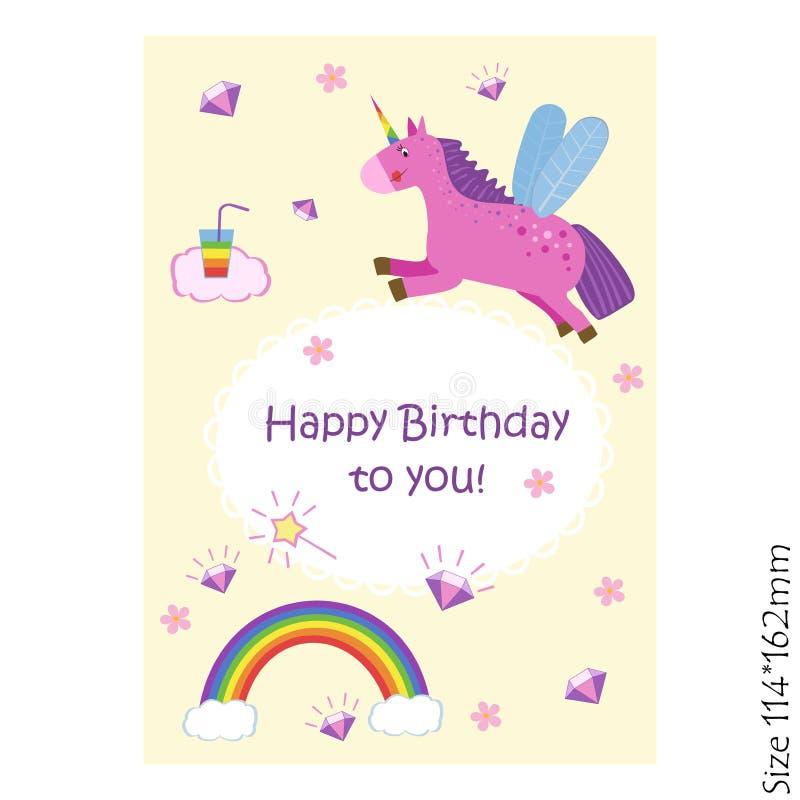 Biglietto di auguri per il compleanno felice con un unicorno magico su un fondo giallo-chiaro royalty illustrazione gratis