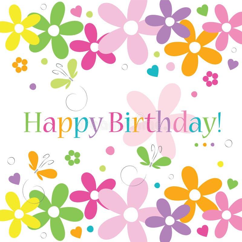 Biglietto di auguri per il compleanno felice dei fiori e delle farfalle dei cuori illustrazione di stock