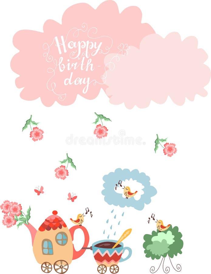 Biglietto di auguri per il compleanno felice di saluto sveglio Teiera con i fiori ed il treno della tazza illustrazione vettoriale