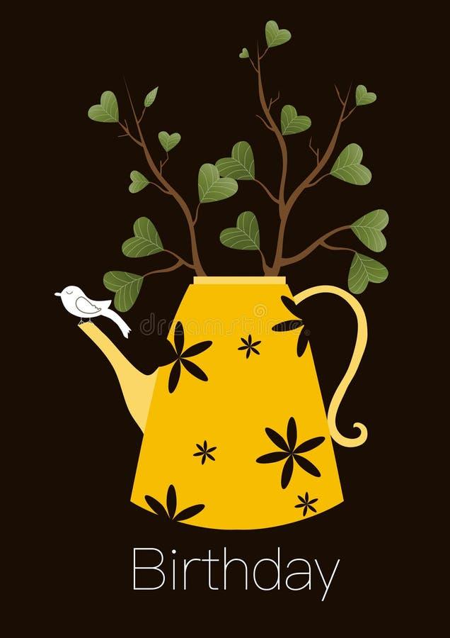 Biglietto di auguri per il compleanno felice di saluto sveglio, teiera con l'albero e piccolo uccello, illustrazione di vettore illustrazione di stock