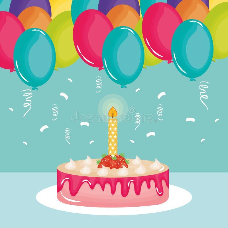 Biglietto di auguri per il compleanno felice, dolce dolce e candela con l'elio dei palloni illustrazione vettoriale