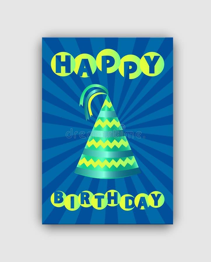 Biglietto di auguri per il compleanno felice isolato sul contesto a strisce illustrazione di stock