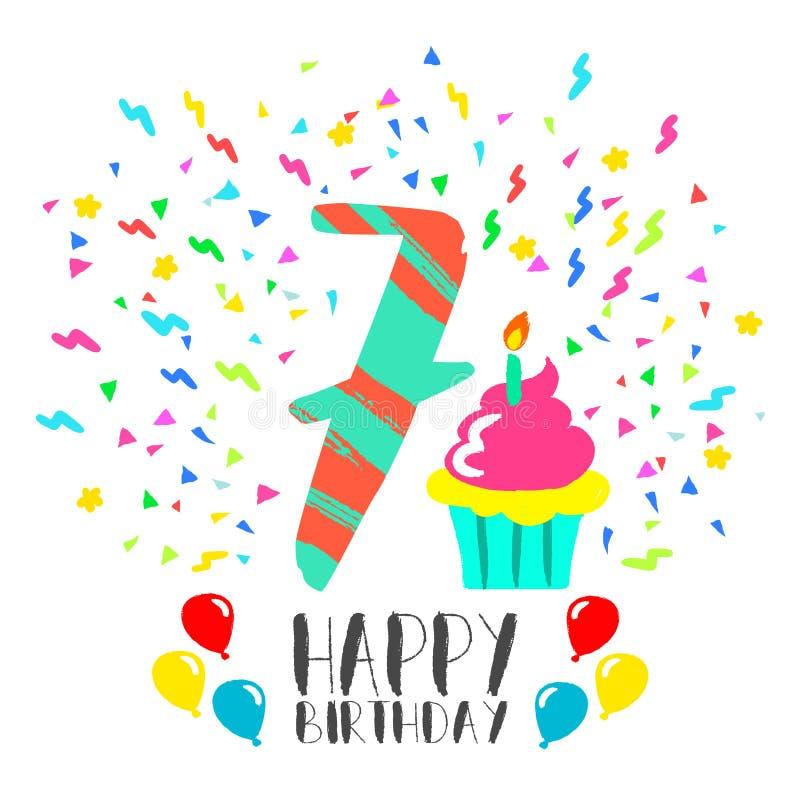 Biglietto di auguri per il compleanno felice per arte del partito di divertimento del bambino da 7 anni illustrazione di stock