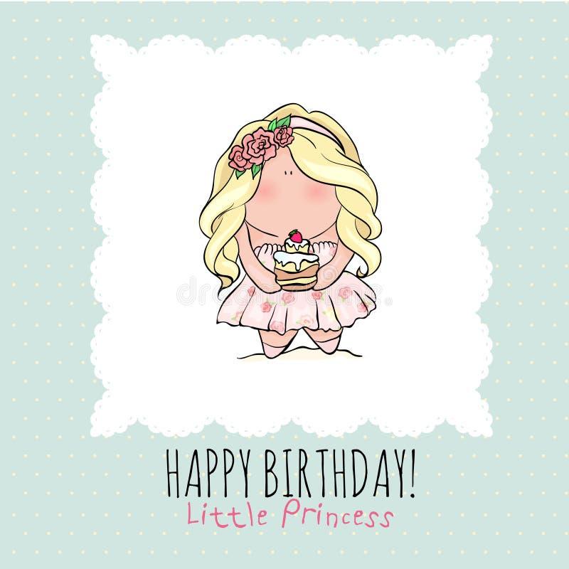 Biglietto di auguri per il compleanno felice per la ragazza Bambina sveglia doodle illustrazione vettoriale