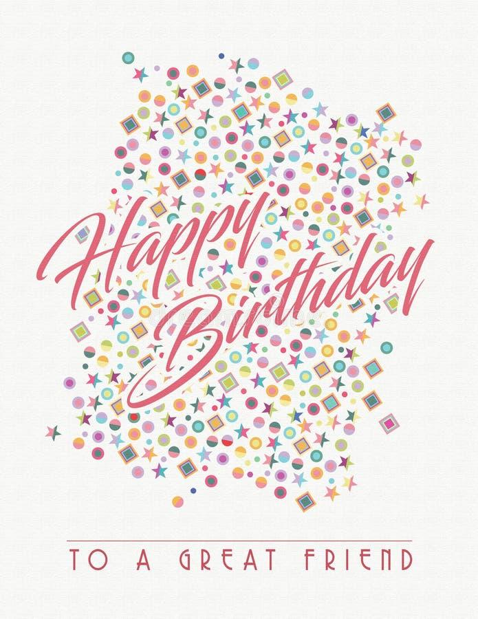 Biglietto di auguri per il compleanno per l'amico royalty illustrazione gratis
