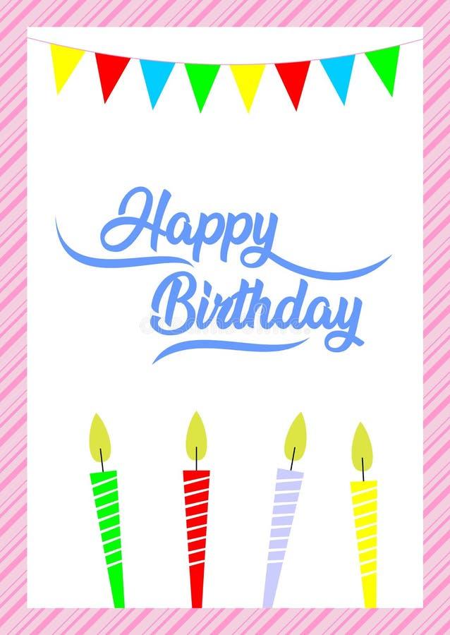 Biglietto di auguri per il compleanno semplice, buon compleanno royalty illustrazione gratis