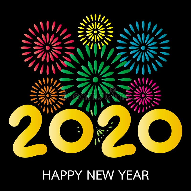 Biglietto di auguri per il nuovo anno 2020 con Fireworks illustrazione vettoriale