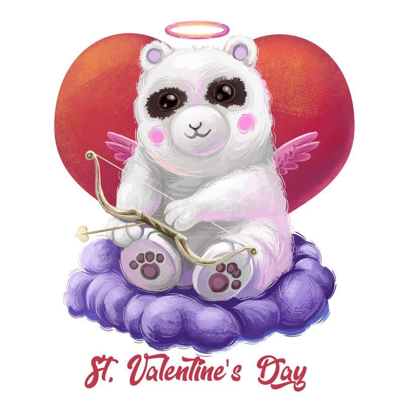Biglietto di auguri per San Valentino con l'orso panda cupido amour seduto sulla nuvola con le ali e l'aureola Arte digitale illustrazione di stock
