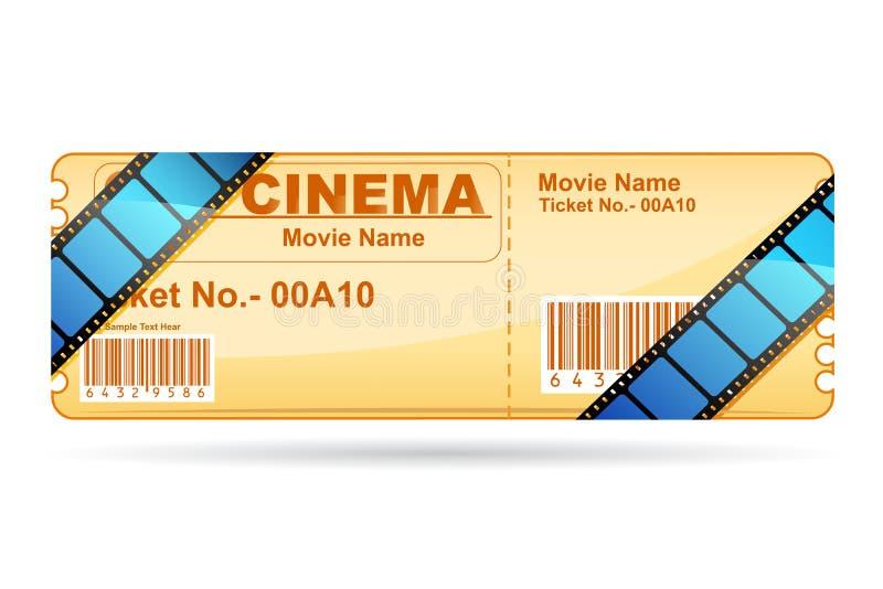 Biglietto di film spostato con la bobina di pellicola illustrazione vettoriale