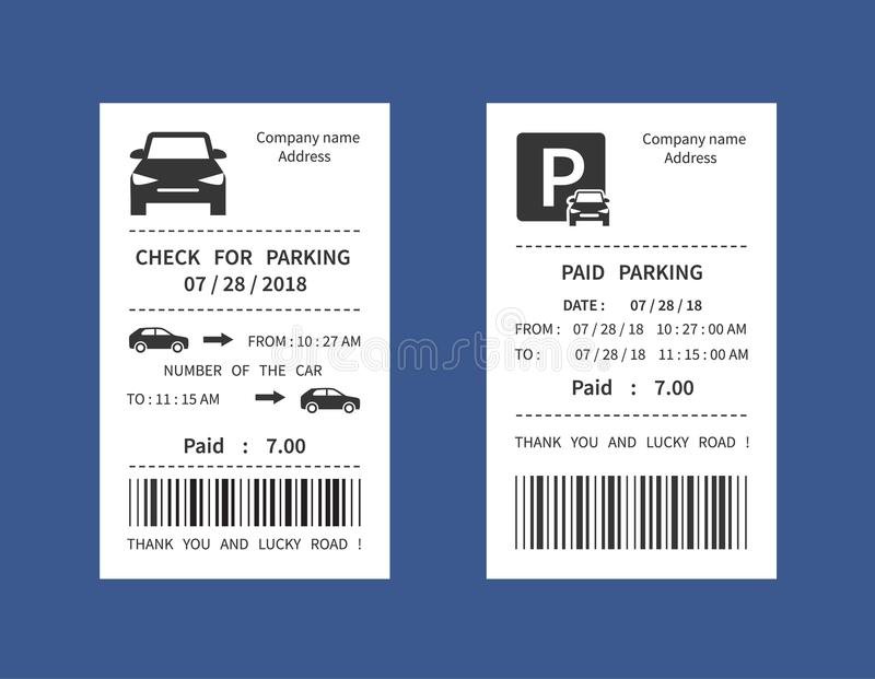 Biglietto di parcheggio, illustrazione di vettore della ricevuta di pena dei soldi isolata illustrazione vettoriale