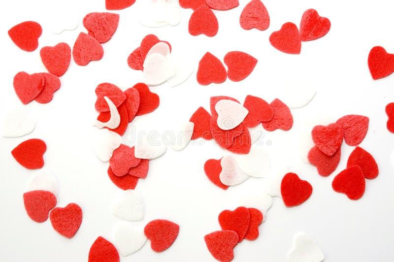 Biglietto di S. Valentino bianco rosso dei cuori per il bagno o la doccia fotografia stock libera da diritti