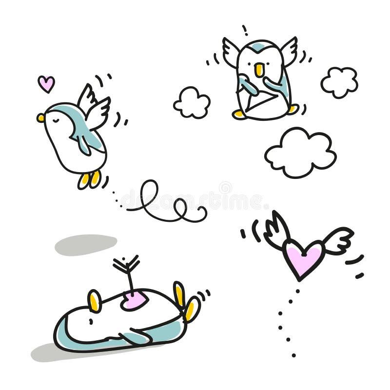Biglietto di S. Valentino dei pinguini illustrazione di stock