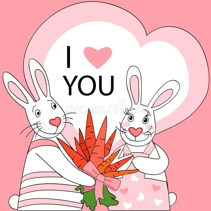 Biglietto di S. Valentino del coniglio illustrazione vettoriale