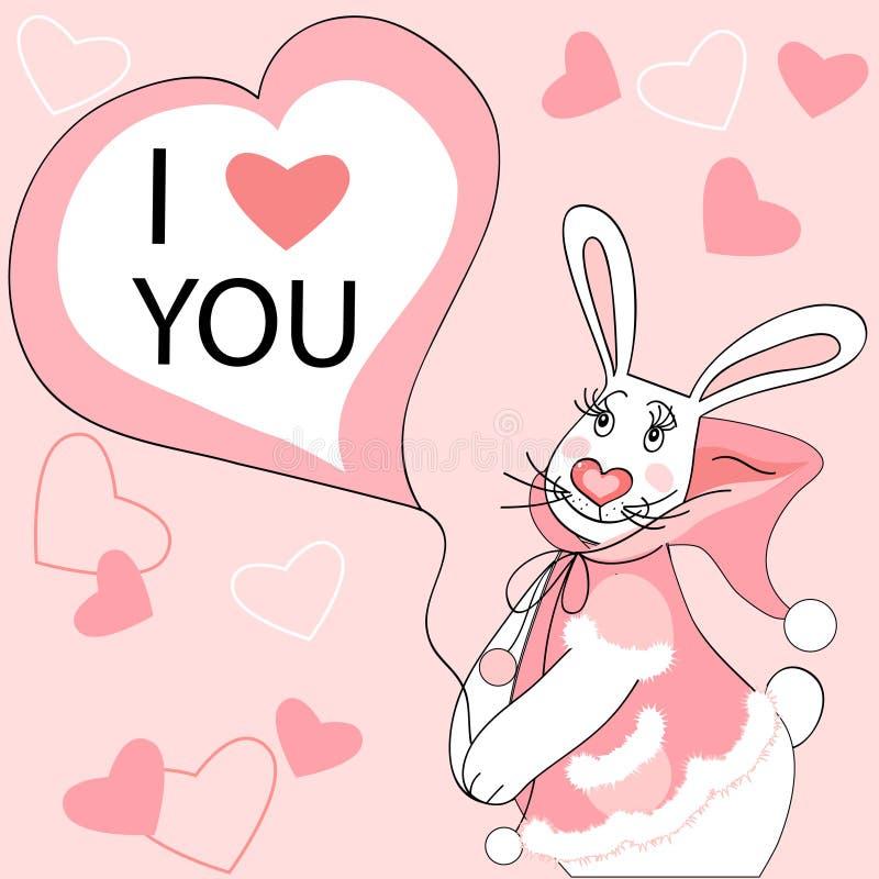 Biglietto di S. Valentino del coniglio illustrazione di stock