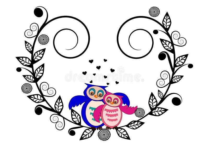 Biglietto di S. Valentino del gufo illustrazione di stock
