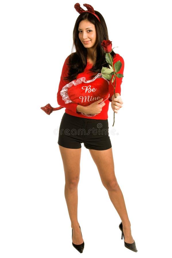 Biglietto di S. Valentino della donna del diavolo immagine stock libera da diritti
