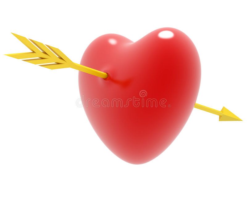 Biglietto di S. Valentino della freccia e del cuore illustrazione di stock
